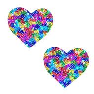 Rainbow Unicorn Poop Sequin Hearts Nipztix Pasties