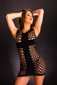 Black Wide Mesh Dress by Beverly Hills Naughty Girl