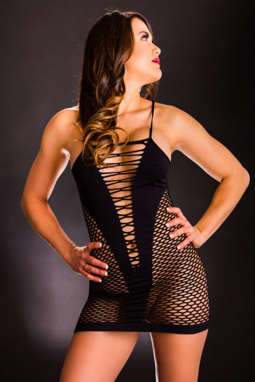 Black Mesh Cut Out Dress by Beverly Hills Naughty Girl