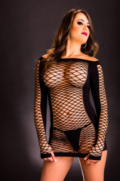 Black Long Sleeve Mesh Dress by Beverly Hills Naughty Girl