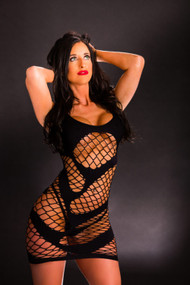 Black Uneven Mesh Tank Dress by Beverly Hills Naughty Girl