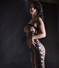 Black Wide Net Jumpsuit by Beverly Hills Naughty Girl