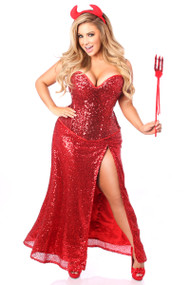 Red Sequin Devil Corset Costume by Daisy Corsets