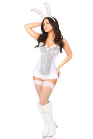 White Sequin Bunny Corset Costume by Daisy Corsets