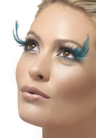 Black and Teal Feather Eyelashes