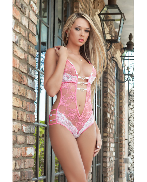 Pink and White Lace Teddy by G World Intimates