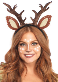 Fawn Reindeer Ear and Antler Headband
