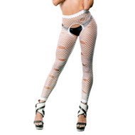 Hole Design Crotchless Leggings by Beverly Hills Naughty Girl-White