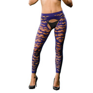 Full Design Crotchless Leggings by Beverly Hills Naughty Girl-Purple