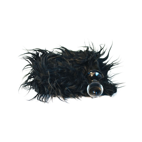 Crystal Minx Faux Fur Tail Glass Butt Plug by Crystal Delights-Black