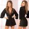 Satin and Eyelash Lace Robe by Seven Til Midnight-Black