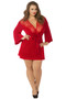 Satin and Eyelash Lace Robe by Seven Til Midnight-Red Plus