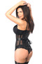 Top Drawer Black Faux Leather and Fishnet Under Bust Corset by Daisy Corsets