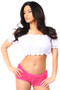 Smocked Short Sleeve Peasant Top by Daisy Corsets-White