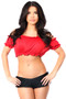 Smocked Short Sleeve Peasant Top by Daisy Corsets-Red