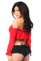Smocked Long Sleeve Peasant Top by Daisy Corsets-Red
