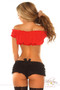 Tie Front Sleeveless Peasant Top by Daisy Corsets-Red