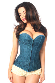 Daisy Corsets-Lavish Lace Over Bust Corset-Dark Teal