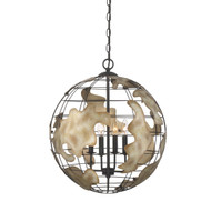 Zeev Lighting Atlas Collection Black With Rusted Antique Silver Chandelier CD10113/4/BK-RAS