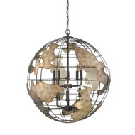 Zeev Lighting Atlas Collection Black With Rusted Antique Silver Chandelier CD10114/10/BK-RAS
