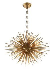 Zeev Lighting Burst Collection Aged Brass Chandelier CD10158/12/AGB