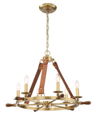 Zeev Lighting Carlisle Collection Aged Brass With Leather And Stained Wood Chandelier CD10160/6/AGB