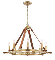 Zeev Lighting Carlisle Collection Aged Brass With Leather And Stained Wood Chandelier CD10161/8/AGB