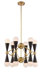Zeev Lighting Crosby Collection Aged Brass And Matte Black Chandelier CD10169/12/AGB+MBK