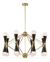 Zeev Lighting Crosby Collection Aged Brass And Matte Black Chandelier CD10170/16/AGB+MBK
