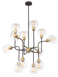 Zeev Lighting Pierre Polished Brass And Matte Black Chandelier CD10200/12/PB+MBK