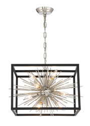 Zeev Lighting Burst Collection Polished Nickel And Matte Black Chandelier CD10222/10/PN+MBK