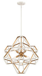 Zeev Lighting Unity Collection Satin White / Gold Chandelier  CD10230/6/SW-G