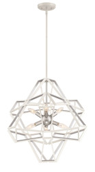 Zeev Lighting Unity Collection Satin White / Silver Leaf Chandelier CD10231/6/SW-SL