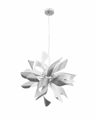 Zeev Lighting Bloom Collection Silver Matt White Chandelier CD10262/9/S+MW