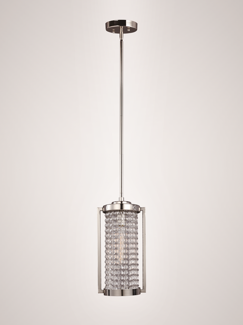 Zeev Lighting Metropolis Collection Polished Nickel Finish Mini Pendant Ceiling Light MP40014/1/PN