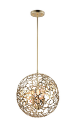 Zeev Lighting Helios Collection Satin Gold Pendant Ceiling Light P30038/3/SG