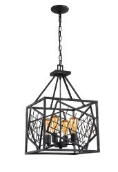 Zeev Lighting Plexus Collection Rustic Iron Pendant Ceiling Light P30074/4/RI