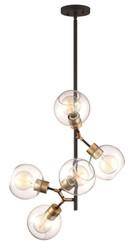 Zeev Lighting Pierre Polished Brass And Matte Black Pendant Ceiling Light P30076/5/PB+MBK