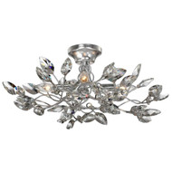 Zeev Lighting Misthaven Collection Silver Leaf Semi Flush Mount SF50004/4/SL-CL