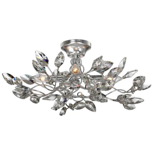Zeev Lighting Misthaven Collection Silver Leaf Semi Flush Mount SF50004/4/SL-CL