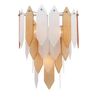 Zeev Lighting Stratus Collection Chrome Frame Amber & Frosted Glass Wall Sconce WS70012/3/CH-ABF