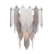 Zeev Lighting Stratus Collection Chrome Frame Smoke & Frosted Glass Wall Sconce