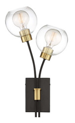 Zeev Lighting Pierre Polished Brass And Matte Black Wall Sconce WS70029/2/PB+MBK