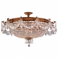 Worldwide Lighting Winchester Collection 12 Light French Gold Semi-Flush Mount W33354FG36