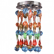 Worldwide Lighting Niagara Collection 7 Light Chrome With Multi Color Blown glass Flush Mount Light W33153C20-ML
