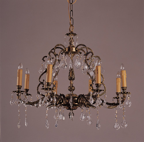 8 Light Antique French Brass & crystal Chandeliers K8