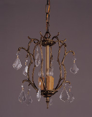 3 Light French Brass And Crystal Mini Chandeliers K3