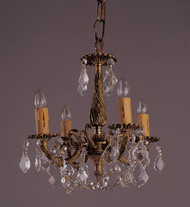 4 Light French Brass And Crystal Mini Chandeliers K4