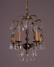 5 Light French Brass & Crystal Chandeliers K5