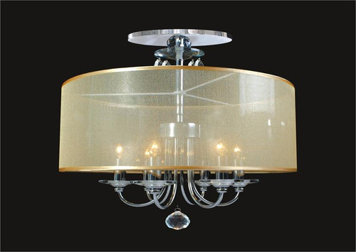 6 Light Crystal Flush Mount With Shade KL-41052-1820